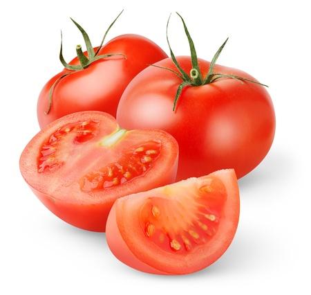 Verse tomaten geïsoleerd op wit Stockfoto