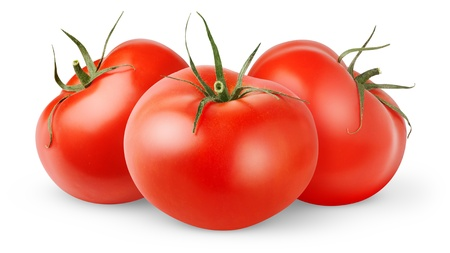 three objects: Fresh tomatoes isolated on white