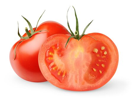 slice tomato: Fresh tomatoes isolated on white