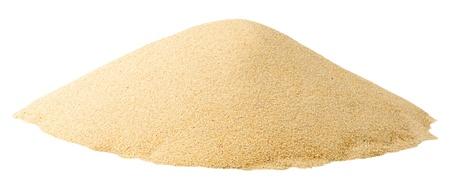 in a pile: Mont�n de arena aislado en blanco
