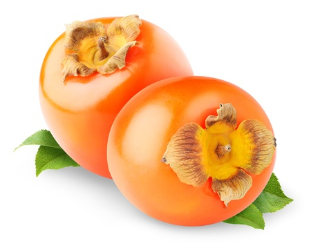 persimmon: Persimmon fruits isolated on white Stock Photo