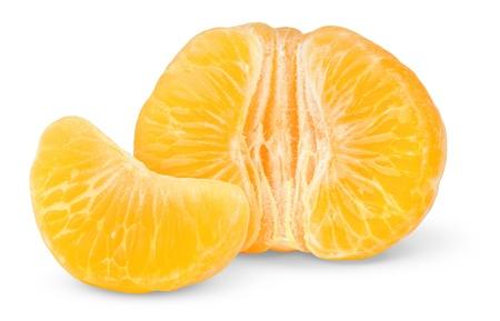 soyulmuş: Peeled tangerine isolated on white