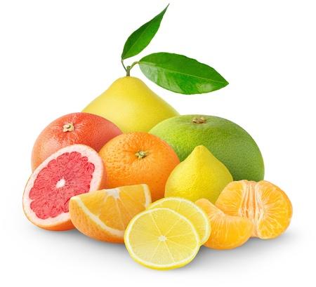 Beautiful citrus fruits isolated on white