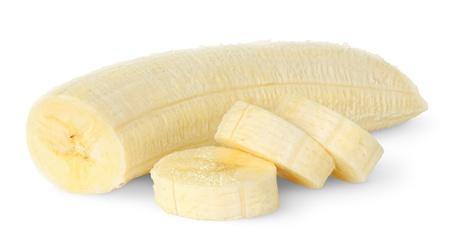 platano maduro: Banana en rodajas aislado en blanco Foto de archivo