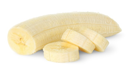 banane: Tranches de banane isol� sur fond blanc Banque d'images