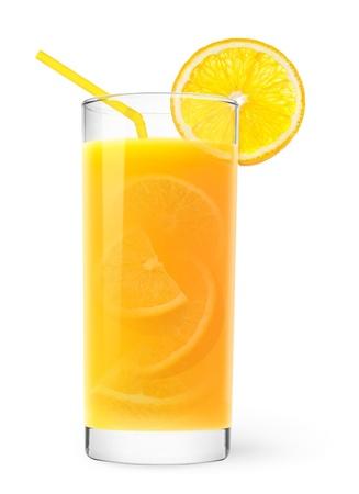 limonada: Vaso de jugo de naranja con texto de naranja dentro