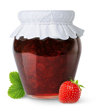 frasco: Mermelada de fresa aislado en blanco