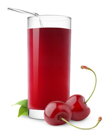 drinking juice: Glass of cherry juice isolated on white