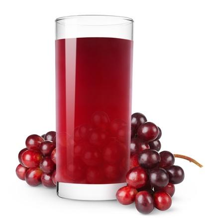sappen: Glas van druivensap geïsoleerd op wit Stockfoto