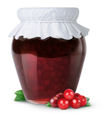 glass jar: Cranberry jam isolated on white Stock Photo