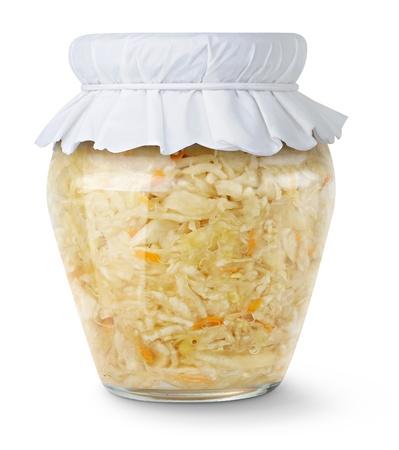 Marinated cabbage (sauerkraut) in glass jar isolated on white