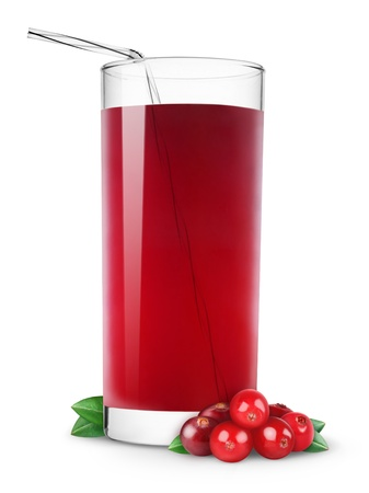 Glass of cranberry juice isolated on white photo