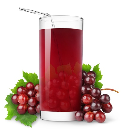 Glass of grape juice isolated on white photo