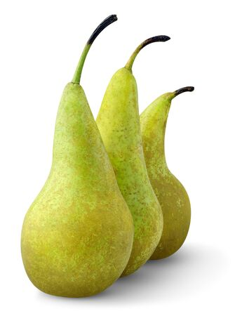 Three green pears isolated on white photo