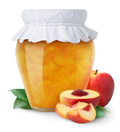canned fruit: Peach jam and fresh peaches isolated on white