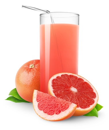 Glass of pink grapefruit juice isolated on white