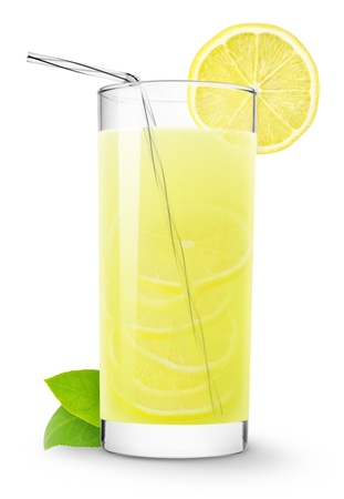 Glass of lemonade isolated on white photo