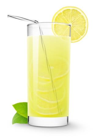 limonada: Vidrio de limonada aislado en blanco Foto de archivo