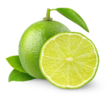 lima limon: Cal fresca aislado en blanco Foto de archivo