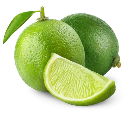 Fresh limes isolated on white 스톡 콘텐츠