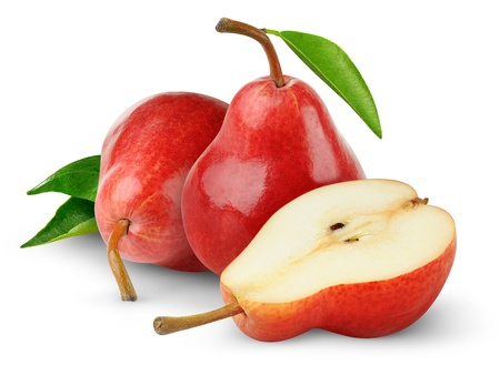 梨: 白で隔離される赤梨 写真素材