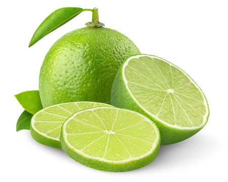 Fresh limes isolated on white Stok Fotoğraf