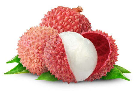 litschi: Fresh lychees isolated on white Stock Photo