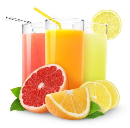 juice fruit: Succhi di agrumi freschi isolate on white