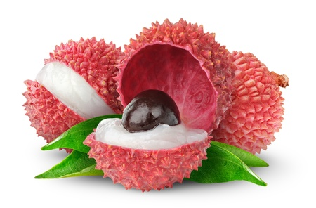 lychees: Fresh lychees isolated on white Stock Photo