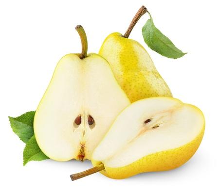 Gele peren die op wit worden geïsoleerd Stockfoto