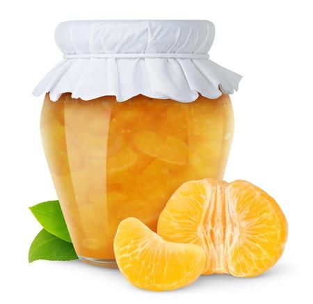 Orange jam isolated on white photo