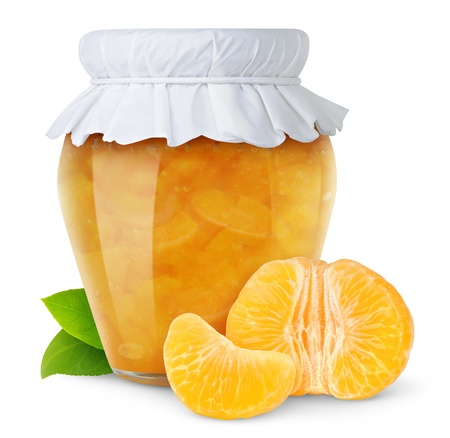 canned fruit: Orange jam isolated on white Stock Photo
