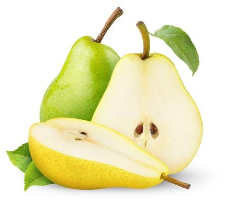 梨: 緑と黄色の梨を白で隔離されます。