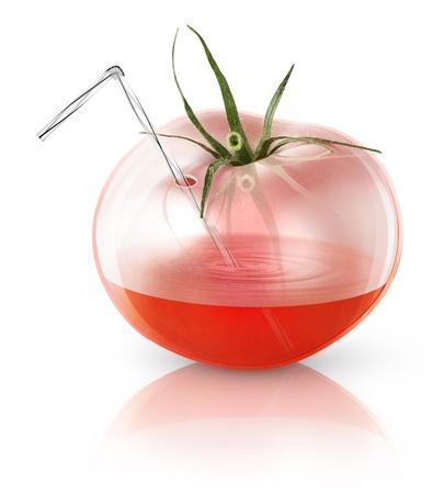 Transparente Tomaten, Konzept Bild für frische Tomatensaft