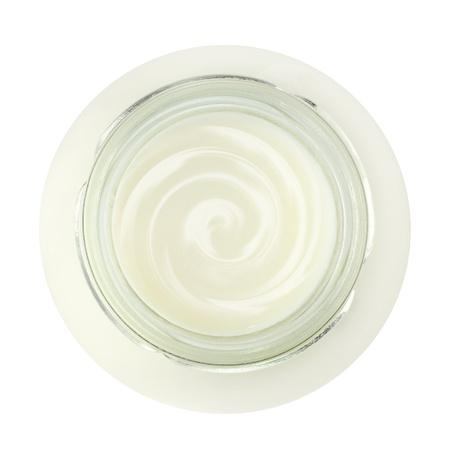 Jar of fresh yogurt, top view, isolated on white