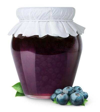 Blueberry jam isolated on white