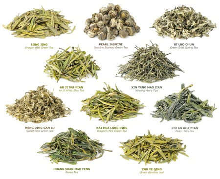 tea leaf: 10 famous chinese green teas collection Stock Photo