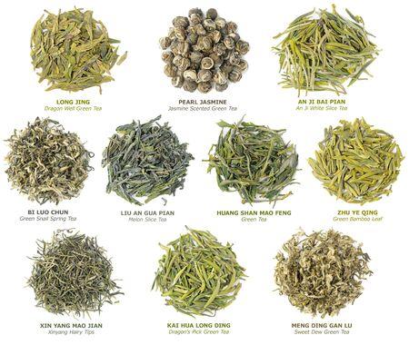 hojas secas: 10 t�s verdes de China famosa colecci�n Foto de archivo