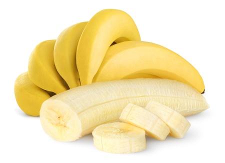 白で隔離される熟したバナナ
