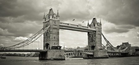 Panorama of Tower Bridge, London, UK. Sepia toned. photo