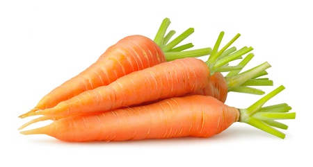 Heap of carrots isolated on white Imagens
