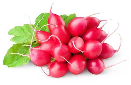 Fresh radishes isolated on white  Stock Photo