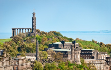 national monuments: View of Calton Hill at Edinburgh, Scotland, ith National Monument and Nelson Monument