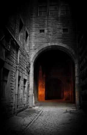 Dark binnenplaats (Edinburgh, Schotland) Stockfoto