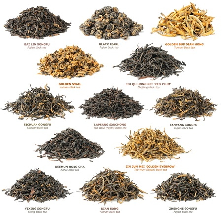 Famous chinese black tea varieties (also known as red tea) isolated on white
