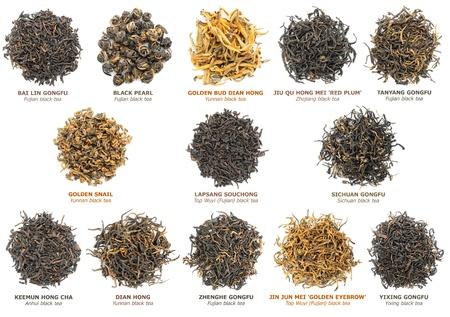 有名な中国の黒茶の品種 (としてまた知られている赤い茶) 白、トップ ビューで分離されました。
