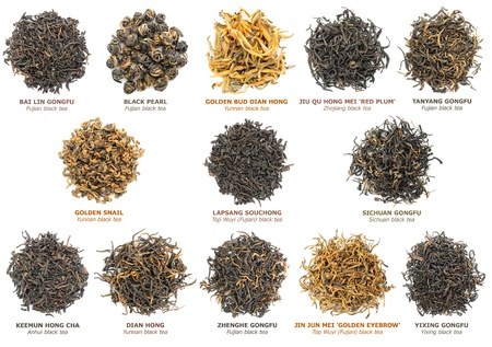 Famous chinese black tea varieties (also known as red tea) isolated on white, top view