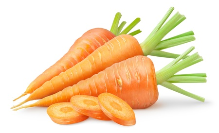 Fresh carrots isolated on white