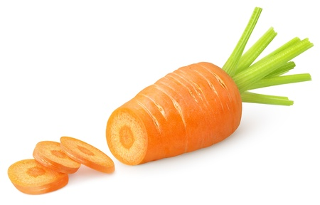 Sliced carrot isolated on white photo