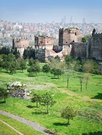 constantinople: Ancient walls of Constantinople in suburb of Blachernae  Istanbul, Turkey